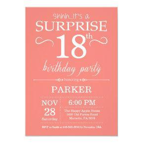Surprise 18th Birthday Invitation Coral