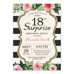 Surprise 18th Birthday Invitations Floral