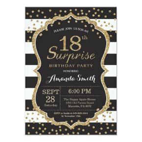 Surprise 18th Birthday Invitations. Gold Glitter Invitations