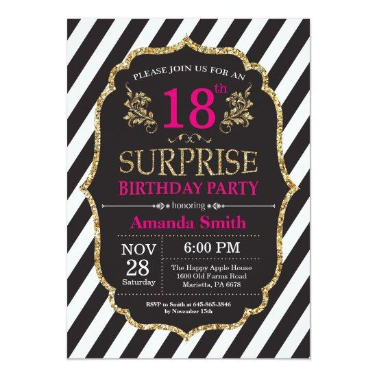Surprise 18th Birthday Invitation Pink Black Gold
