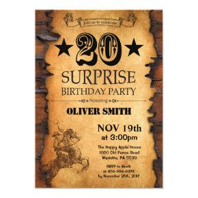 Surprise 20th Western Birthday Invitation