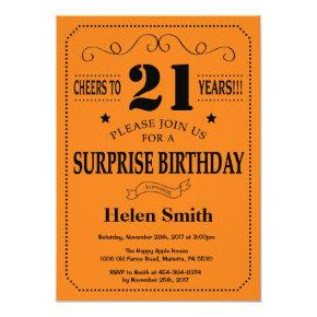 Surprise 21st Birthday Black and Orange Invitation