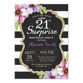 Surprise 21st Birthday Invitation Floral Gold