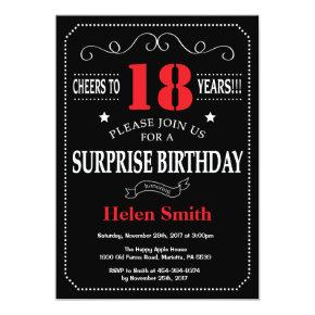 Surprise 21st Birthday Invitation Red and Black