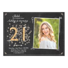 Surprise 21st birthday invite Chalkboard vintage