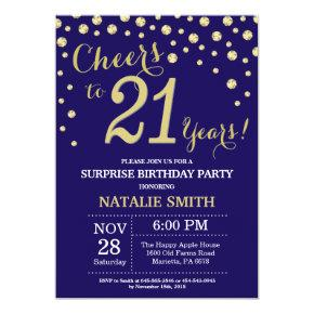 Surprise 21st Birthday Navy Blue and Gold Diamond Invitations