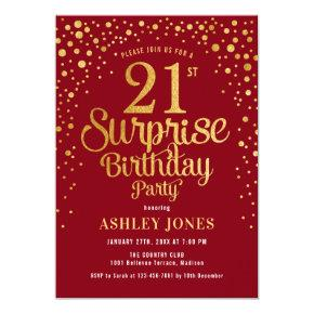 Surprise 21st Birthday Party - Red & Gold Invitation