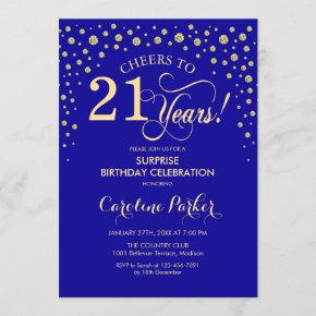 Surprise 21st Birthday Party - Royal Blue Gold Invitation