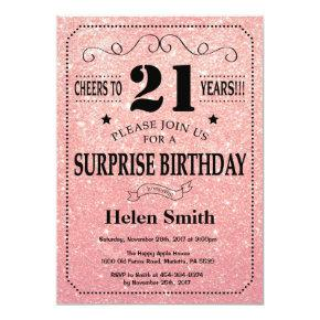 Surprise 21st Birthday Pink Rose Gold Glitter Invitation