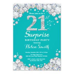 Surprise 21st Birthday Teal and Silver Diamond Invitation