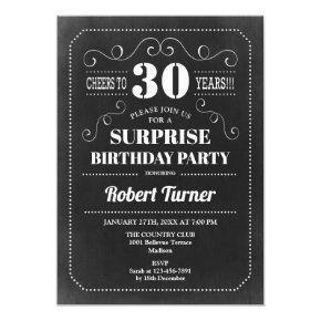 Surprise 30th Birthday - Chalkboard Invitation