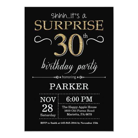 Surprise 30th Birthday Invitation Black And Gold
