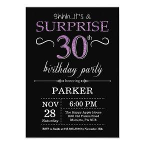 Surprise 30th Birthday Invitation Black and Purple