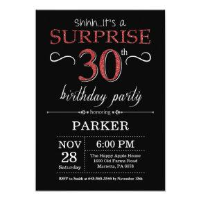 Surprise 30th Birthday Invitation Black and Red