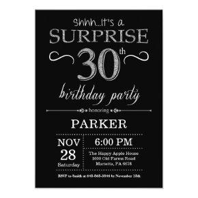 Surprise 30th Birthday Invitation Black and Silver
