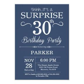 Surprise 30th Birthday Invitation Blue and White