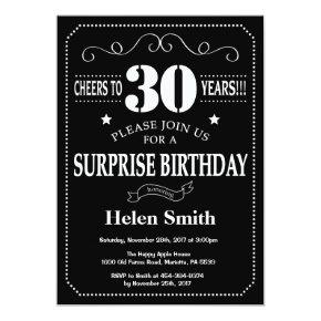 Surprise 30th Birthday Invitation Chalkboard