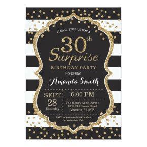 Surprise 30th Birthday Invitation. Gold Glitter Card