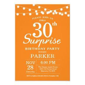 Surprise 30th Birthday Invitation Orange