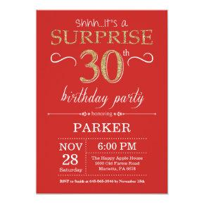 Surprise 30th Birthday Invitation Red And Gold