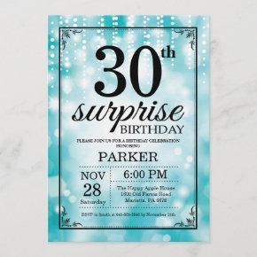 Surprise 30th Birthday Invitation Teal Glitter