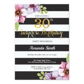 Surprise 30th Birthday Invitation Women Floral