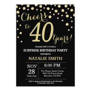 Surprise 40th Birthday Black and Gold Diamond Invitations
