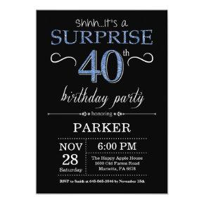 Surprise 40th Birthday Invitation Black and Blue