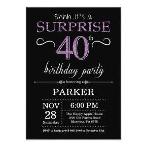 Surprise 40th Birthday Invitation Black and Purple