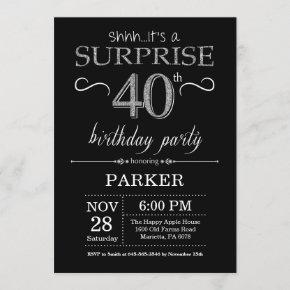 Surprise 40th Birthday Invitation Black and Silver