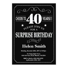 Surprise 40th Birthday Invitation Chalkboard