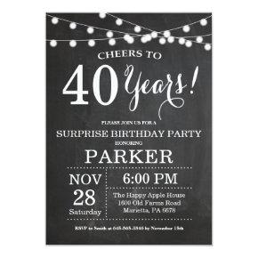 Surprise 40th Birthday Invitation Chalkboard