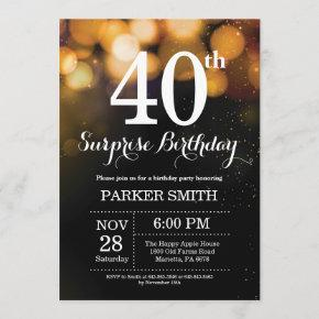 Surprise 40th Birthday Invitation Gold Glitter