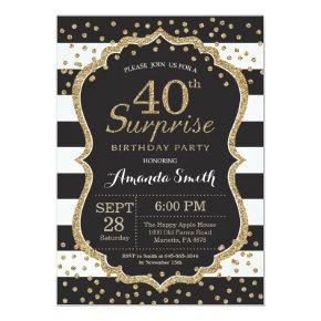 Surprise 40th Birthday Invitations. Gold Glitter Invitations