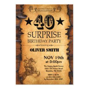 Surprise 40th Western Birthday Invitation