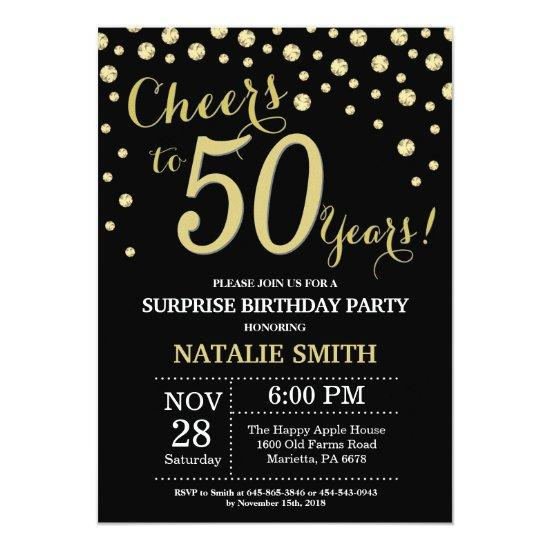 Surprise 50th Birthday Black and Gold Diamond Invitation