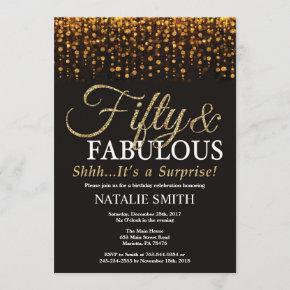 Surprise 50th Birthday Fifty and Fabulous Gold Invitation