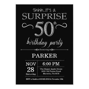 Surprise 50th Birthday Invitation Black and Silver