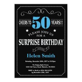 Surprise 50th Birthday Invitation Blue and Black