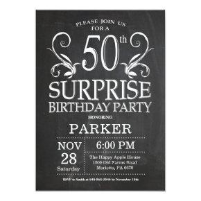 Surprise 50th Birthday Invitation Chalkboard