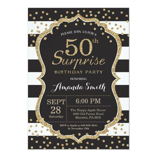 Surprise 50th Birthday Invitation. Gold Glitter