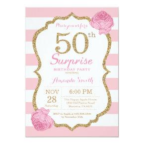 Surprise 50th Birthday Invitation Pink and Gold