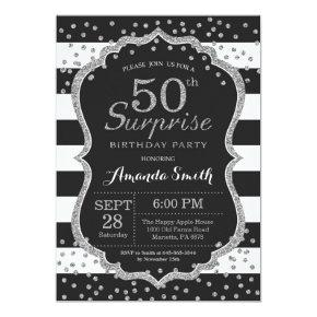 Surprise 50th Birthday Invitation. Silver Glitter Invitation