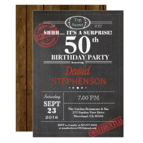 Surprise 50th birthday party invitation for men