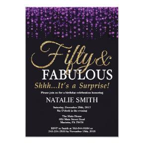 Surprise 50th Birthday Purple and Gold Glitter Invitation