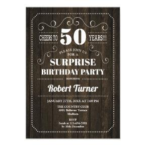 Surprise 50th Birthday - Wood Pattern Invitation