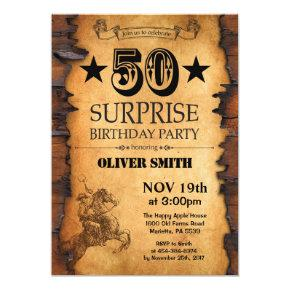 Surprise 50th Western Birthday Invitation