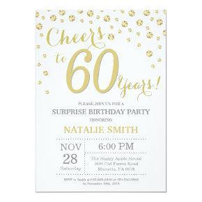 Surprise 60th Birthday Gold Glitter Diamond Invitation