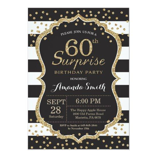 Surprise 60th Birthday Invitation Gold Glitter