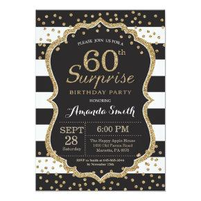 Surprise 60th Birthday Invitations. Gold Glitter Invitations